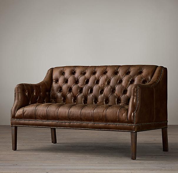 Everett Tufted Leather Settee