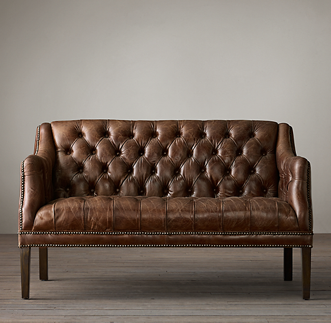 Everett Tufted Leather Settee Color Preview Unavailable Alternate View 1