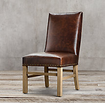 Nailhead Leather Side Chair