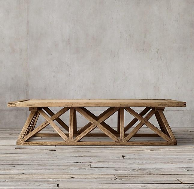 Timber Trestle Door Coffee Table - Trestle Door Coffee Table