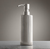 Ribbed Metal Dispenser - Polished Nickel