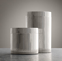 Ribbed Metal Canister - Polished Nickel