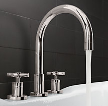 Sutton Cross-Handle Deck-Mount Roman Tub Faucet Set