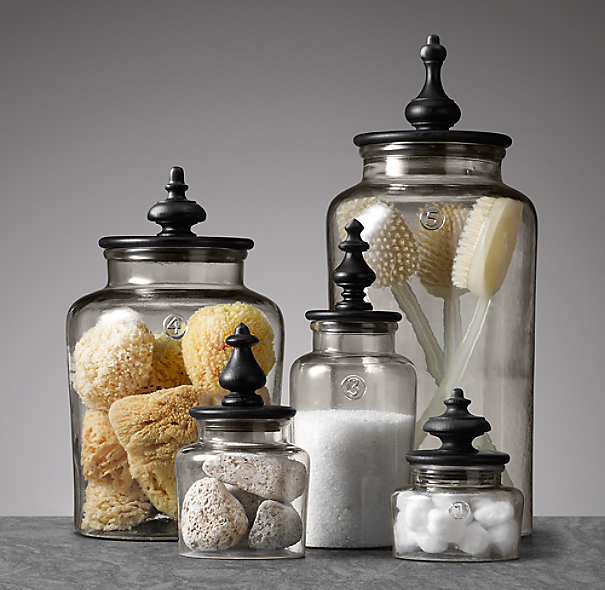 Turned finial glass jars for Bathroom countertop accessories sets