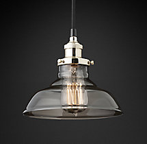 20th C. Factory Filament Smoke Glass Barn Pendant
