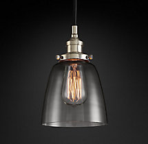 20th C. Factory Filament Smoke Glass Cloche Pendant