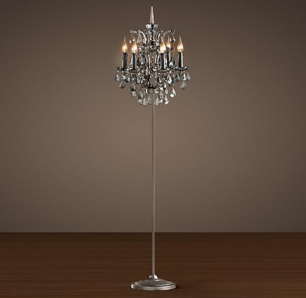 19th C Rococo Iron Amp Smoke Crystal Floor Lamp