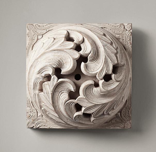 1900s Hand Carved Acanthus Roundel Whitewash
