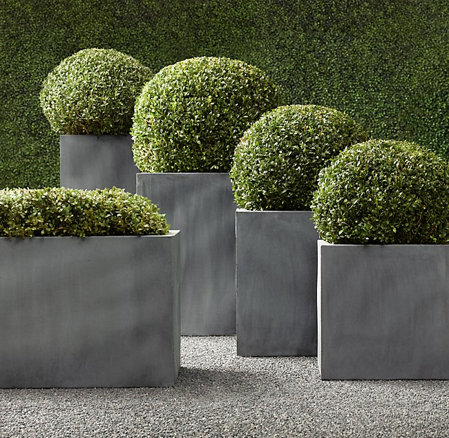 Estate Zinc Square Planters