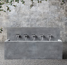 Weathered Zinc Wall Fountain 5-Spout Trough
