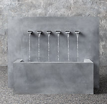 Weathered Zinc Wall Fountain 6-Spout Trough