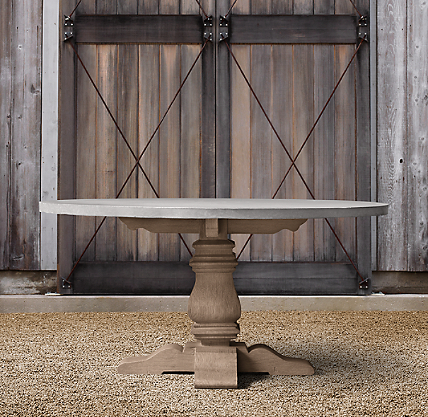 English Trestle Weathered Concrete & Teak Round Dining Table