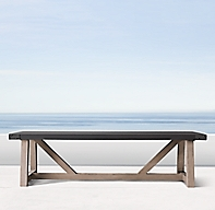 French Beam Concrete Amp Teak Rectangular Dining Table