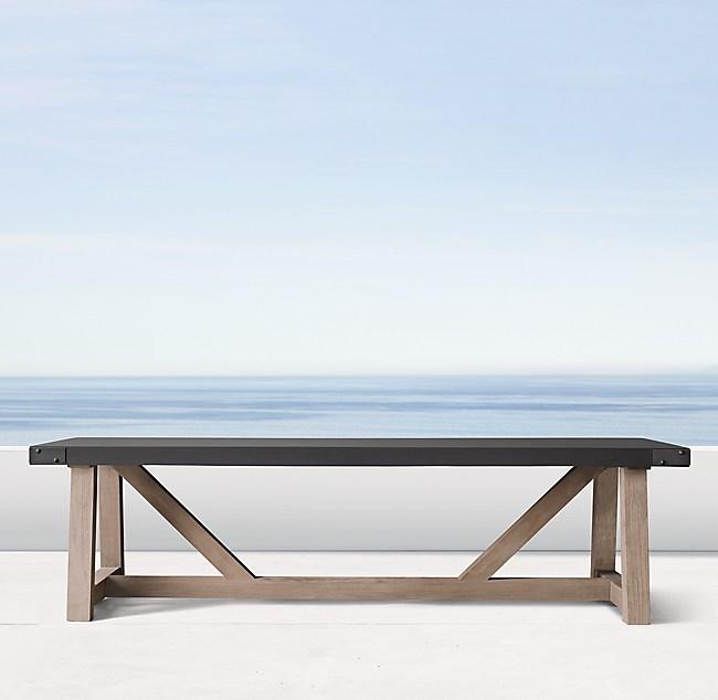 Admirable French Beam Concrete Teak Rectangular Dining Table Inzonedesignstudio Interior Chair Design Inzonedesignstudiocom