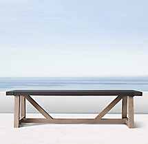 French Beam Concrete & Teak Rectangular Dining Table