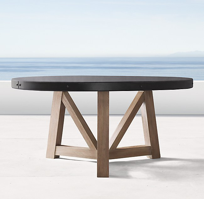 """french beam concrete & teak 72"""" round dining table"""