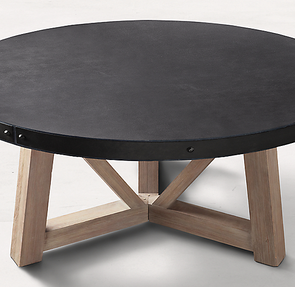 Rh French Beam Coffee Table: French Beam Concrete & Teak Round Dining Table