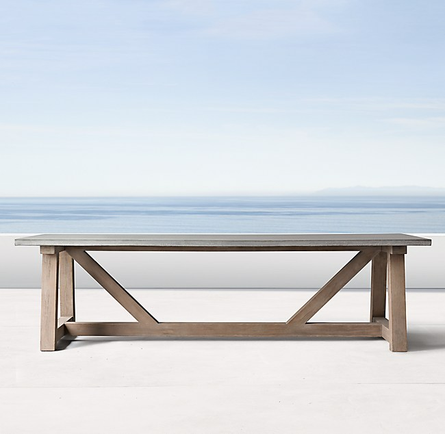 Rh French Beam Coffee Table: French Beam Weathered Concrete & Teak Rectangular Dining Table