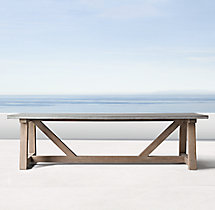 French Beam Weathered Concrete & Teak Rectangular Dining Table