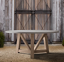 French Beam Weathered Concrete & Teak Round Dining Table
