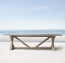 Belgian Trestle Weathered Concrete & Teak Rectangular Dining Table