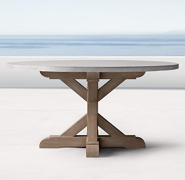 Belgian Trestle Weathered Concrete Teak Round Dining Table - Weathered teak outdoor dining table