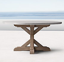 Belgian Trestle Weathered Concrete & Teak Round Dining Table
