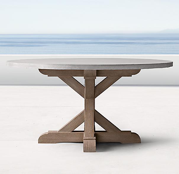 belgian trestle weathered concrete teak round dining table. Black Bedroom Furniture Sets. Home Design Ideas