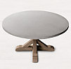 Belgian Trestle Weathered Concrete Amp Teak Round Dining Table