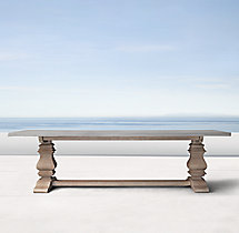 English Trestle Weathered Concrete & Teak Rectangular Dining Table