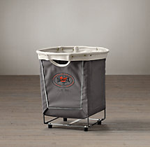 Laundry Cart Round Grey Small