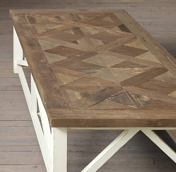 Restoration Hardware French Coffee Table: Parquet X-Brace Coffee Table