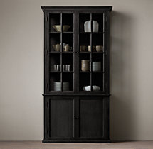 Hampton Casement Double-Door Panel Sideboard & Glass Hutch