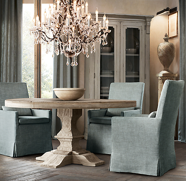 Dumont round dining table for Dining room tables at restoration hardware