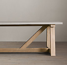 Salvaged Wood & Weathered Concrete Beam Rectangular Dining Table