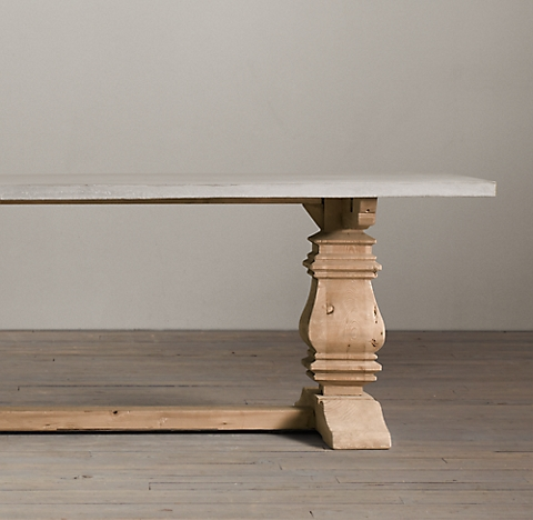 Salvaged Wood Weathered Concrete Trestle Collection RH - Rh concrete table