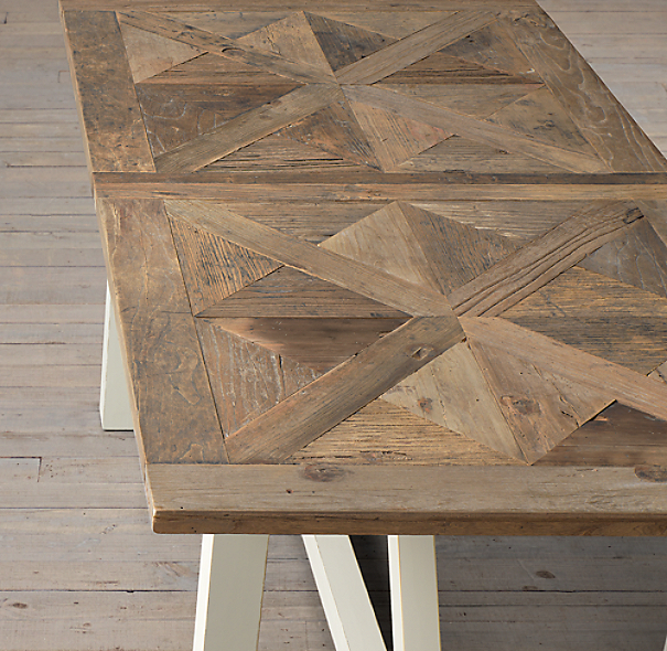 Parquet X Brace Rectangular Dining Table