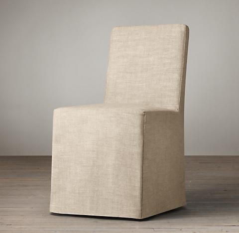 Parsons Slipcovered Long Skirt Side Chair