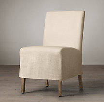 Parsons Slipcovered Short Skirt Side Chair