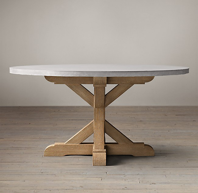 Wood Weathered Concrete X Base Round Dining Table