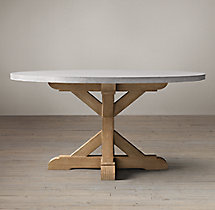 Salvaged Wood & Weathered Concrete X-Base Round Dining Table