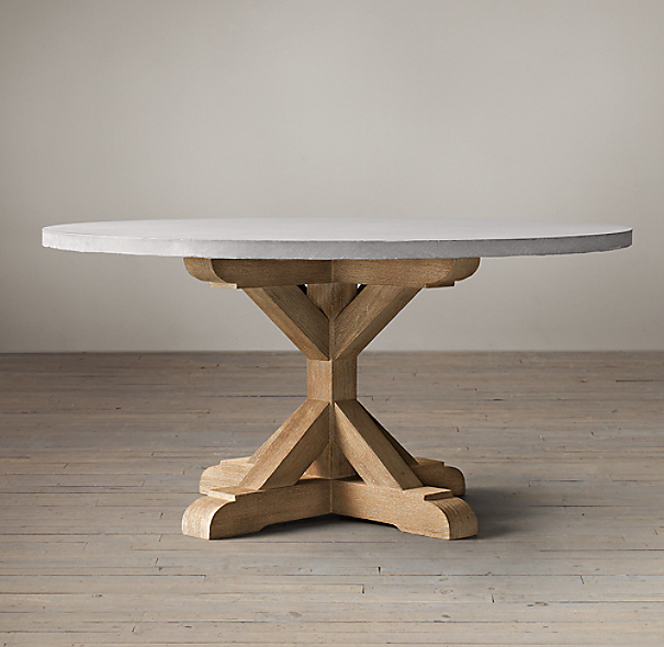 Salvaged Wood Weathered Concrete X Base Round Dining Table