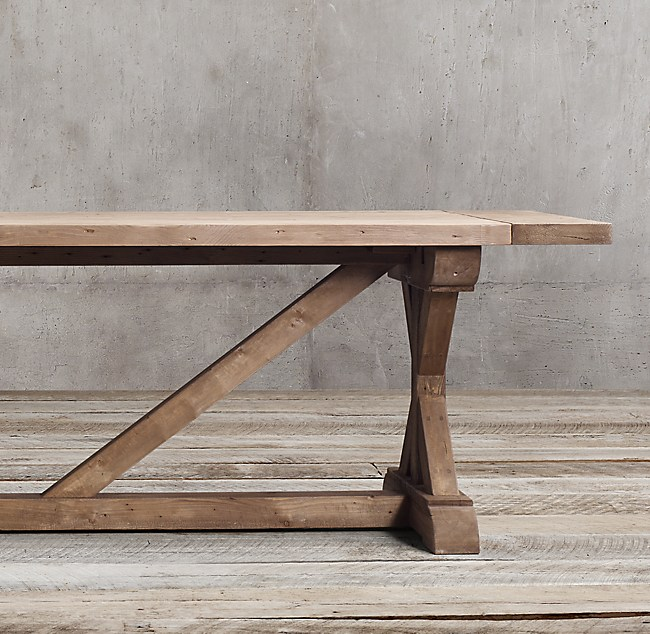 Salvaged Wood XBase Rectangular Extension Dining Table - X base dining table