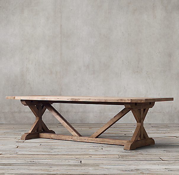 Salvaged Wood X Base Rectangular Extension Dining Table