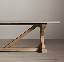 Salvaged Wood & Weathered Concrete X-Base Rectangular Dining Table