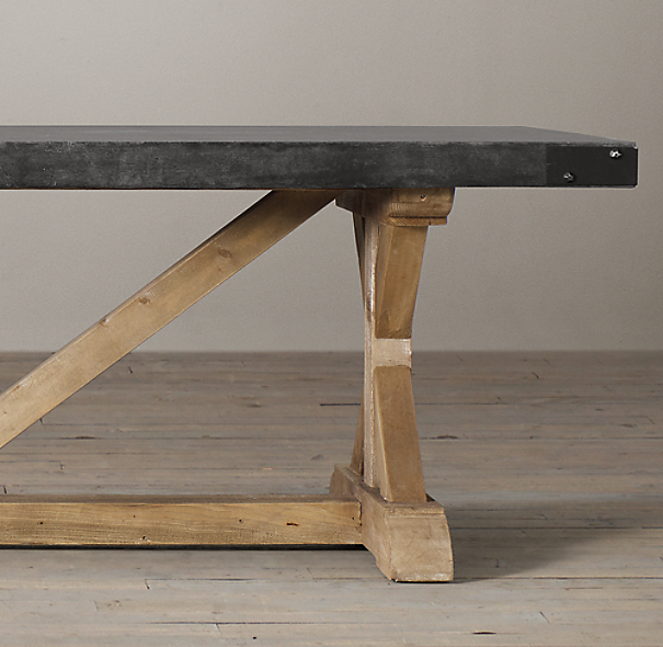 Salvaged Wood Concrete X Base Rectangular Dining Table
