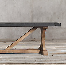 Salvaged Wood & Concrete X-Base Rectangular Dining Table