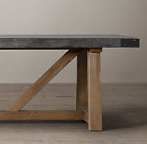 Salvaged Wood & Concrete Beam Rectangular Dining Table