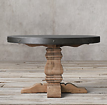 Salvaged Wood & Concrete Trestle Round Dining Table