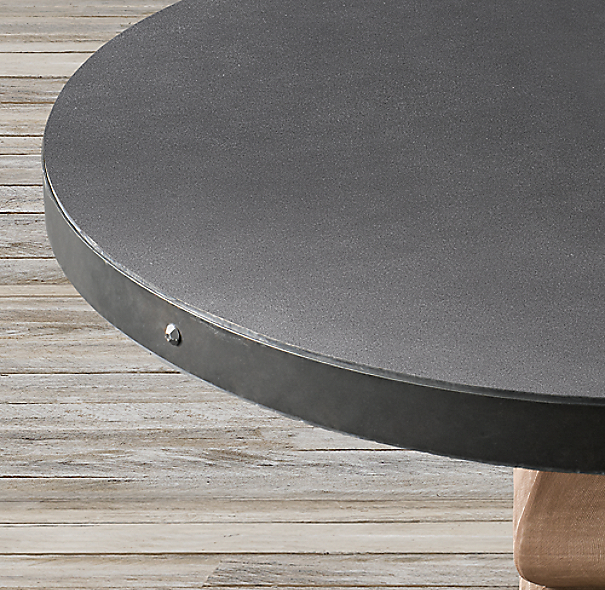 Salvaged Wood Concrete Trestle Round Dining Table